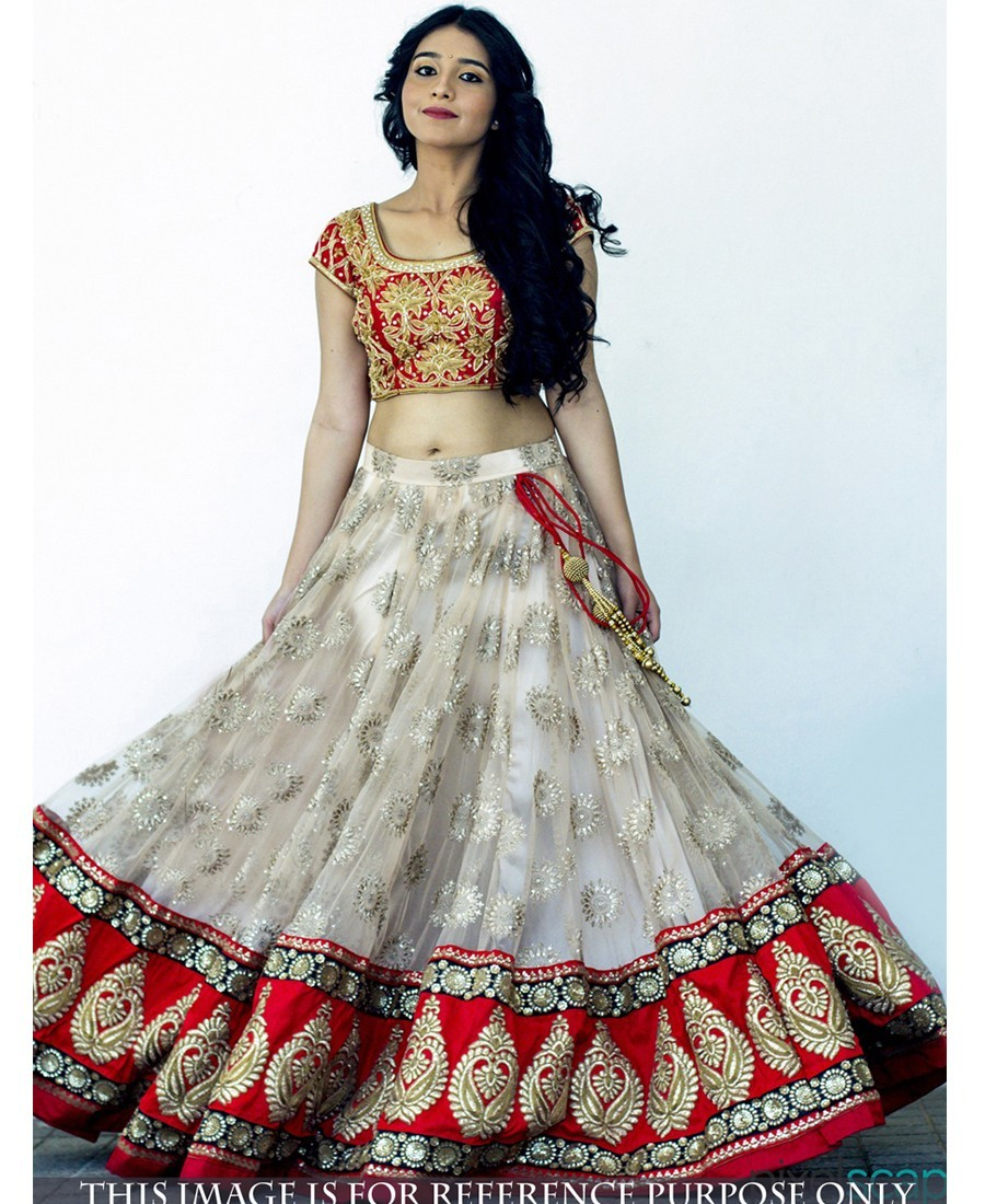 Buy Rozzy Creation Smashing Off White Net Lehenga Choli Online