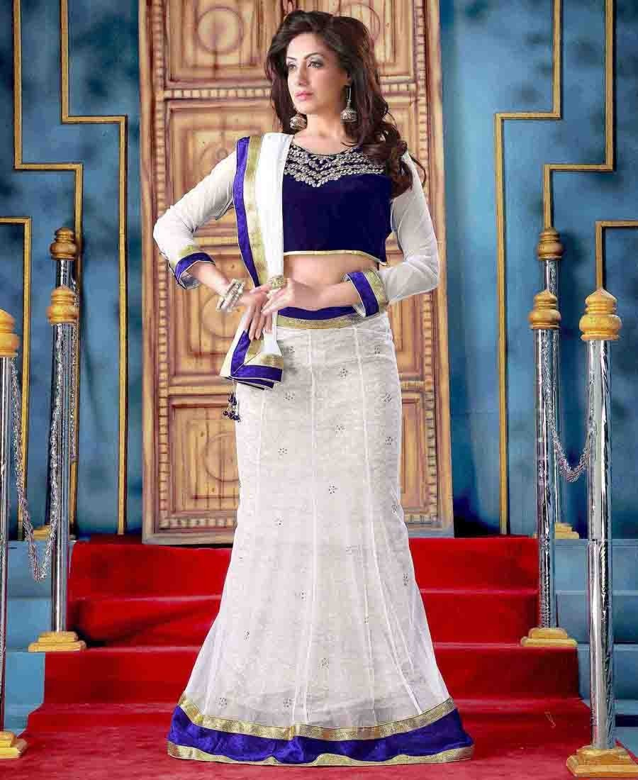 25aa318b4a Buy Indiantrend Appealing Off White And Net Georgette Lehenga Choli Online