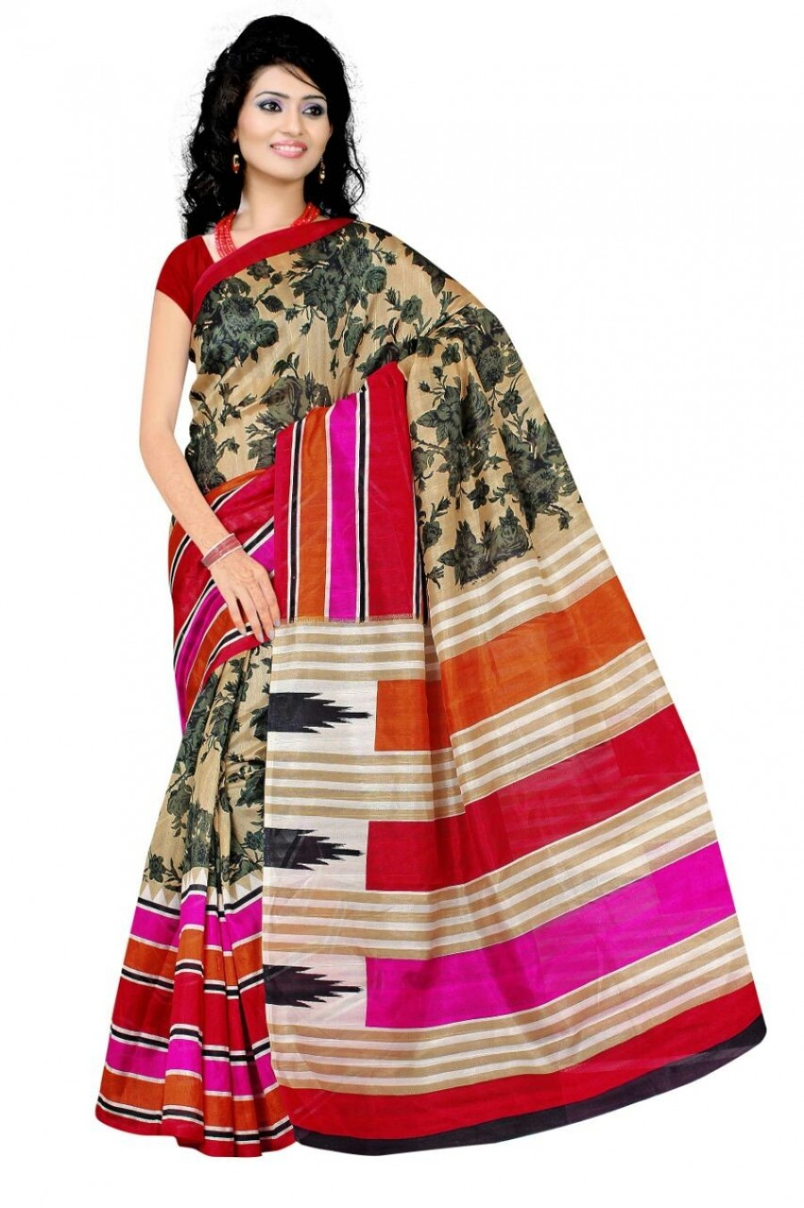 b79e119b039c0 Buy Owomaniya Printed Bhagalpuri Silk Saree With lace Border With Blouse.  Online. View full size