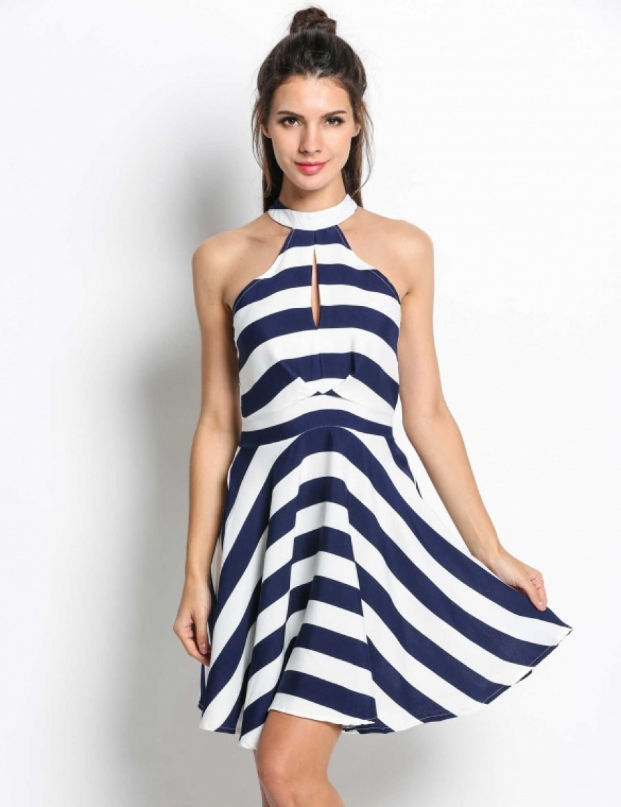 1153c6fc83c66 Buy Women High Neck Off Shoulder Striped Hollow Out Pleated Swing Dress  Online