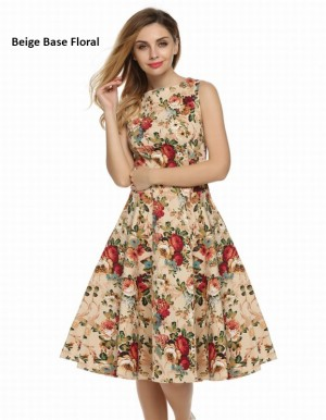 Buy Santana Women Casual Sleeveless Floral Printed Mid-calf Length Party Cocktail Evening Dress Online