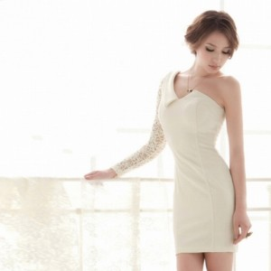 Buy Women Ladies One Shoulder Lace Sleeves Cocktail Evening Party Mini Dress Online