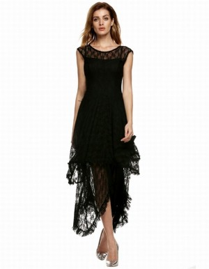 Buy Santana Women Sheer Lace Double Layered Hollow Out Evening Backless Long Dress Online