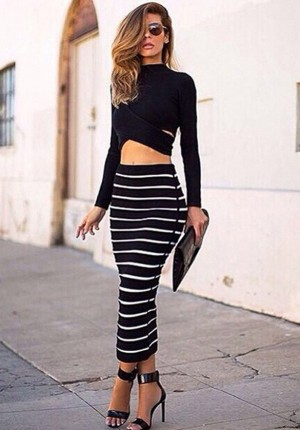 Buy Santana Womens Striped Bodycon Stretch Dress Long Sleeve Tops Blouse + Long Skirt Online