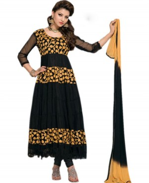 Buy Fashion Club Good looking Black Brasso Net Anarkali Dress  Online