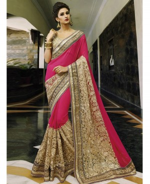 Buy Rimzim Enterprise Becoming Pink Beige Georgette Net Designer Saree Online