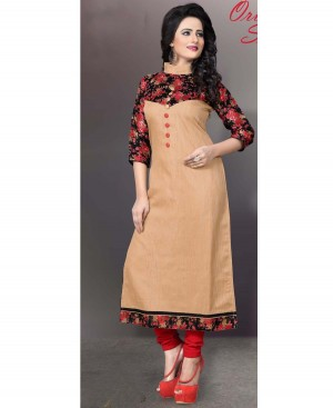 Buy Anbazaar  Prepossessing Cream Cotton Kurti Online