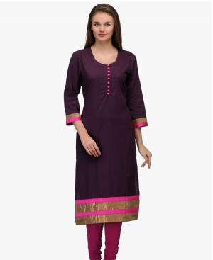 Buy Fashion Club  Smashing Dark Purple Cotton Kurti Online