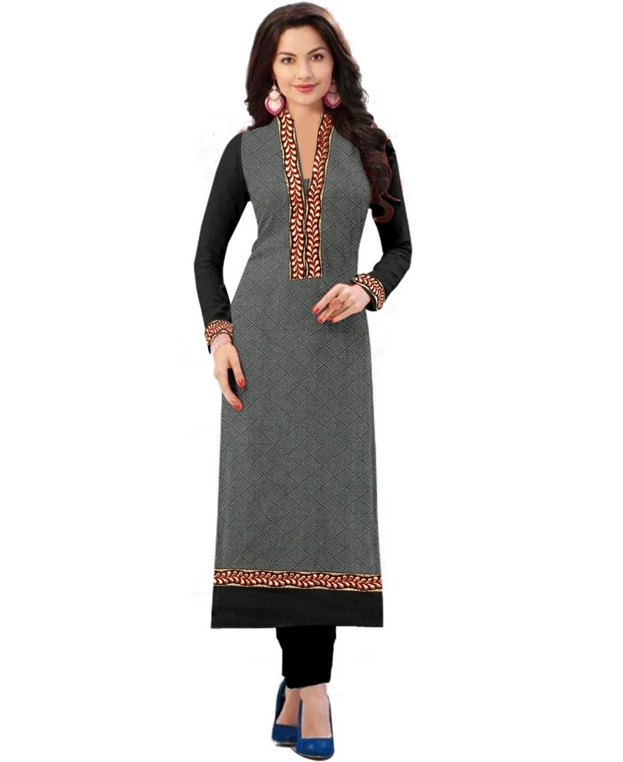 Buy Hariom Creation  Beautiful Grey Black Cotton Semi Stitched Kurti Online