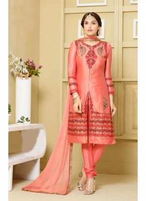 Buy Fabfirki Latest Jama Satin Cotton Fabric Peach Churidar Salwar Suit  Online