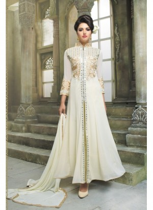 Buy Fabfirki Party Wear White Designer Long Salwar Suit  Online