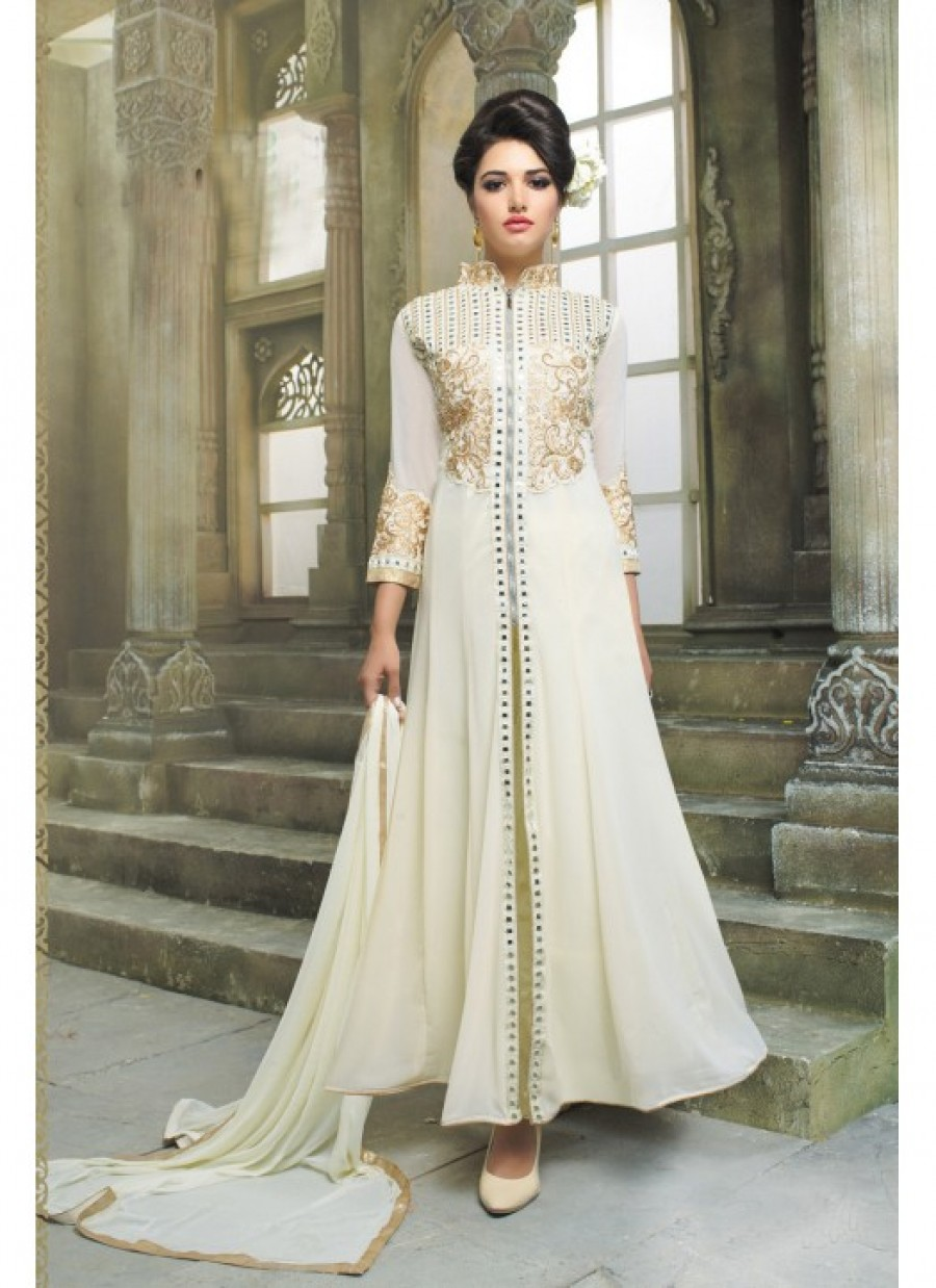 Buy Online Fabfirki Party Wear White Designer Long Salwar