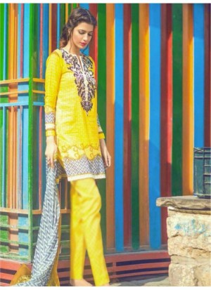 Buy Fabfirki New Latest Yellow Pure Lawn Dress Material  Online