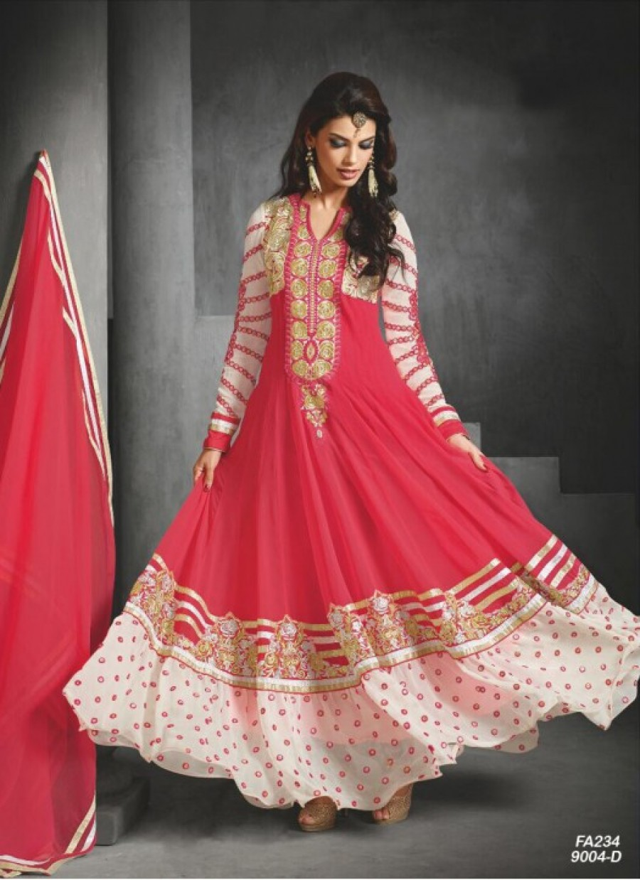 Buy Fabfirki Presents New Elegant Red Anarkali Salwar Suit  Online