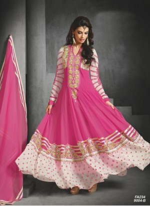 Buy Fabfirki Presents New Elegant Rani Pink Anarkali Salwar Suit  Online