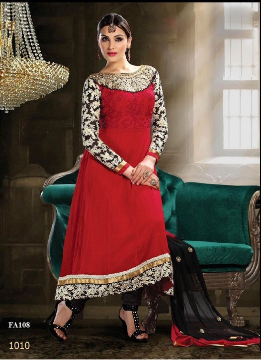 Buy Fabfirki Maroon Long New Designer Party Wear Anarkali Suit  Online