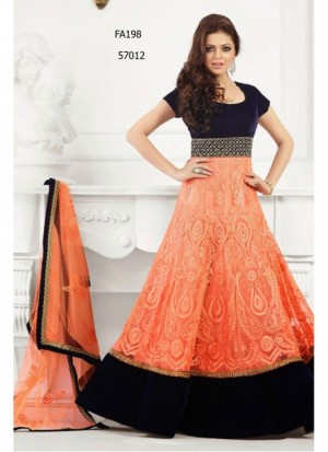 Buy Latest Orange And Black Georgette Long Anarkali Suit  Online