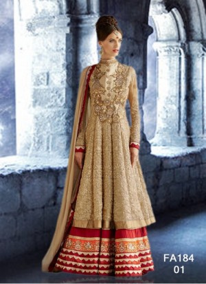 Buy Most Attractive Designer Cream And Hevy Work Anarkali Suit  Online