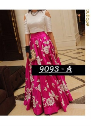 Buy Fabfirki New Arrival Pink And White Raw Silk Semi Stitched Lehenga Choli  Online