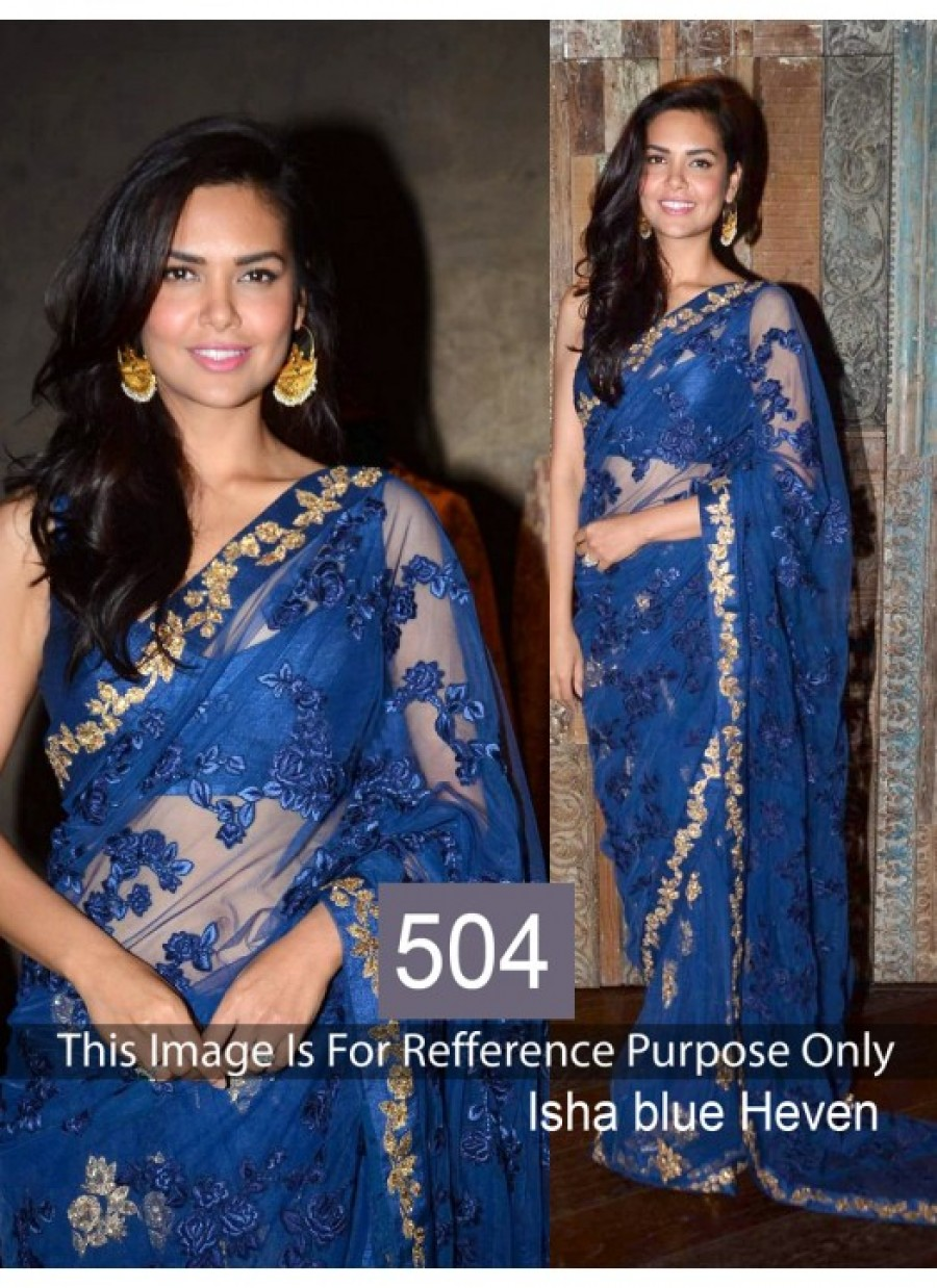 Fabfirki Designer Blue Net Embroidered Stylish Saree Best Price 537786