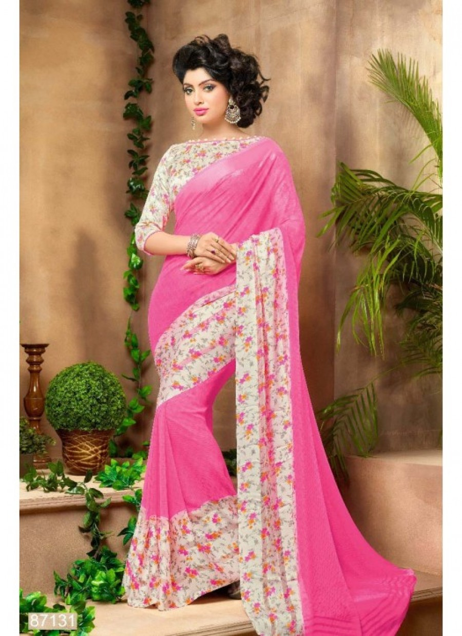 a7c6b7c52b Buy Fabfirki Presents New Gorgeous Pink And White Flower Printed Saree  Online