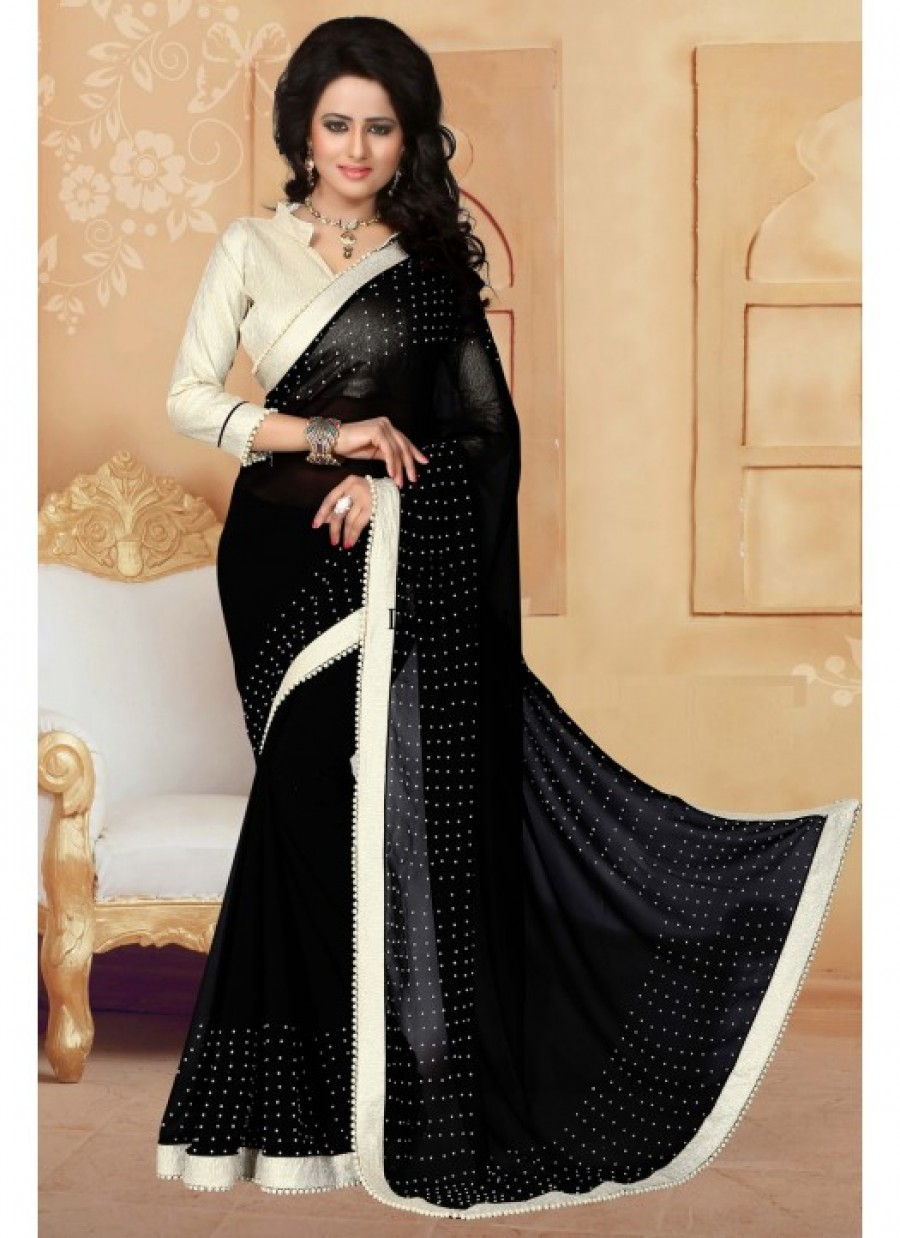 456835989e0 Buy Fabfirki Black Color With 60 GM Silver Cruse Gota Blouse and Lace Designer  Saree.