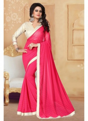 Buy Fabfirki DarkPink With 60 GM Silver Cruse Gota Blouse and Lace Designer Saree. Online