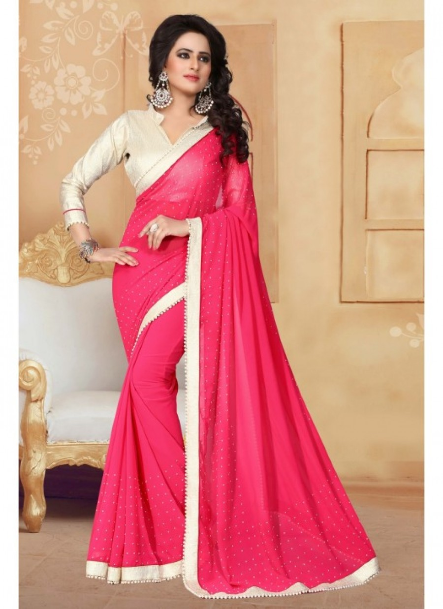 07a018db8aec47 Buy Fabfirki DarkPink With 60 GM Silver Cruse Gota Blouse and Lace Designer  Saree. Online