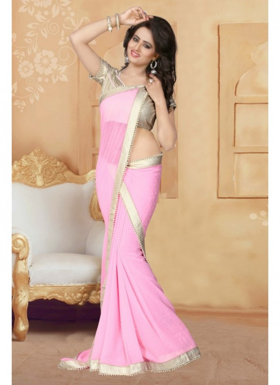 bdc485c4f01820 Buy Fabfirki Pink Color With 60 GM Silver Cruse Gota Blouse and Lace  Designer Saree.