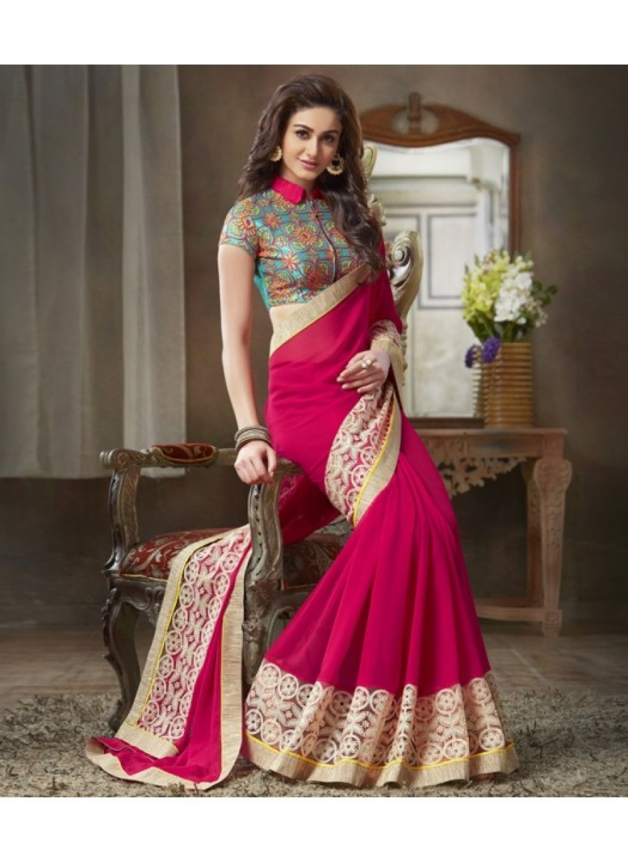 103c19512a Buy Fabfirki Designeer Pink Gergotte With Lace Work And Embroidery Saree  Online