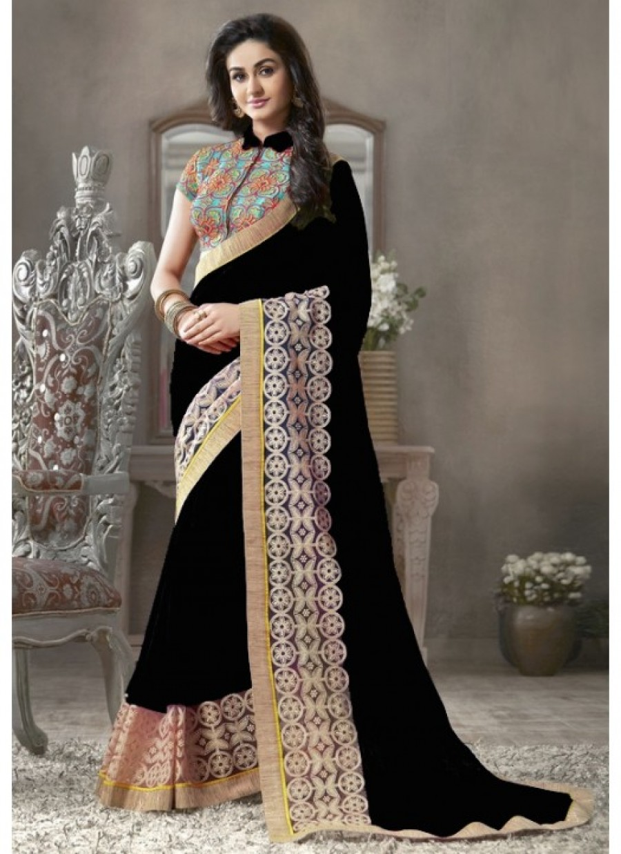 181b3dea16 Buy Fabfirki Designeer Black Gergotte With Lace Work And Embroidery Saree  Online