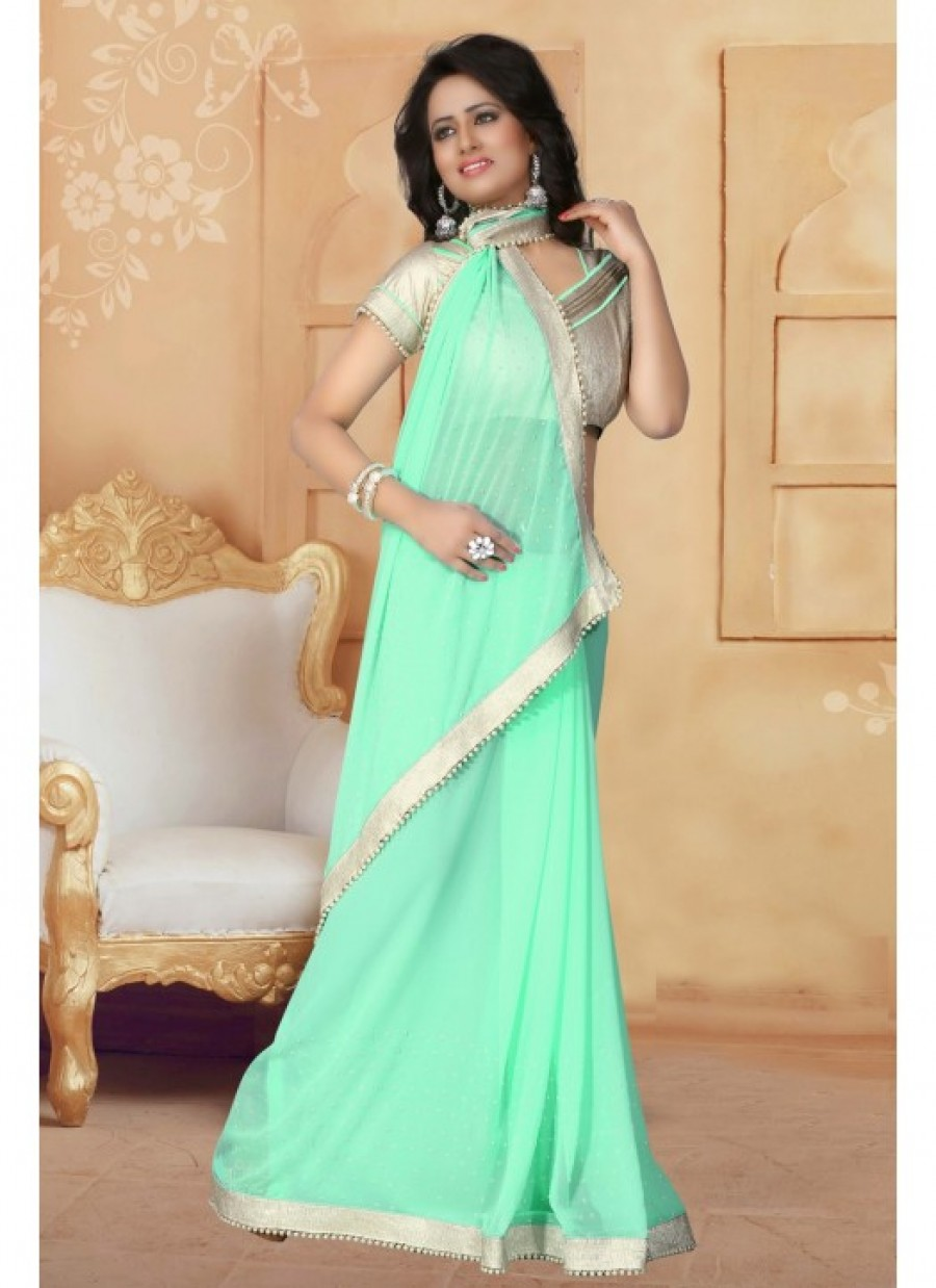 f8a5f36496b34d Buy Fabfirki Lime Green Color With 60 GM Silver Cruse Gota Blouse and Lace  Designer Saree