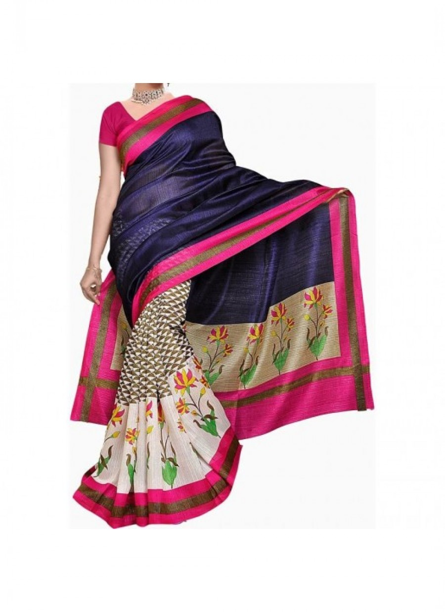 Buy Fabfirki Blue And Pink Printed Saree Online Shopping Online