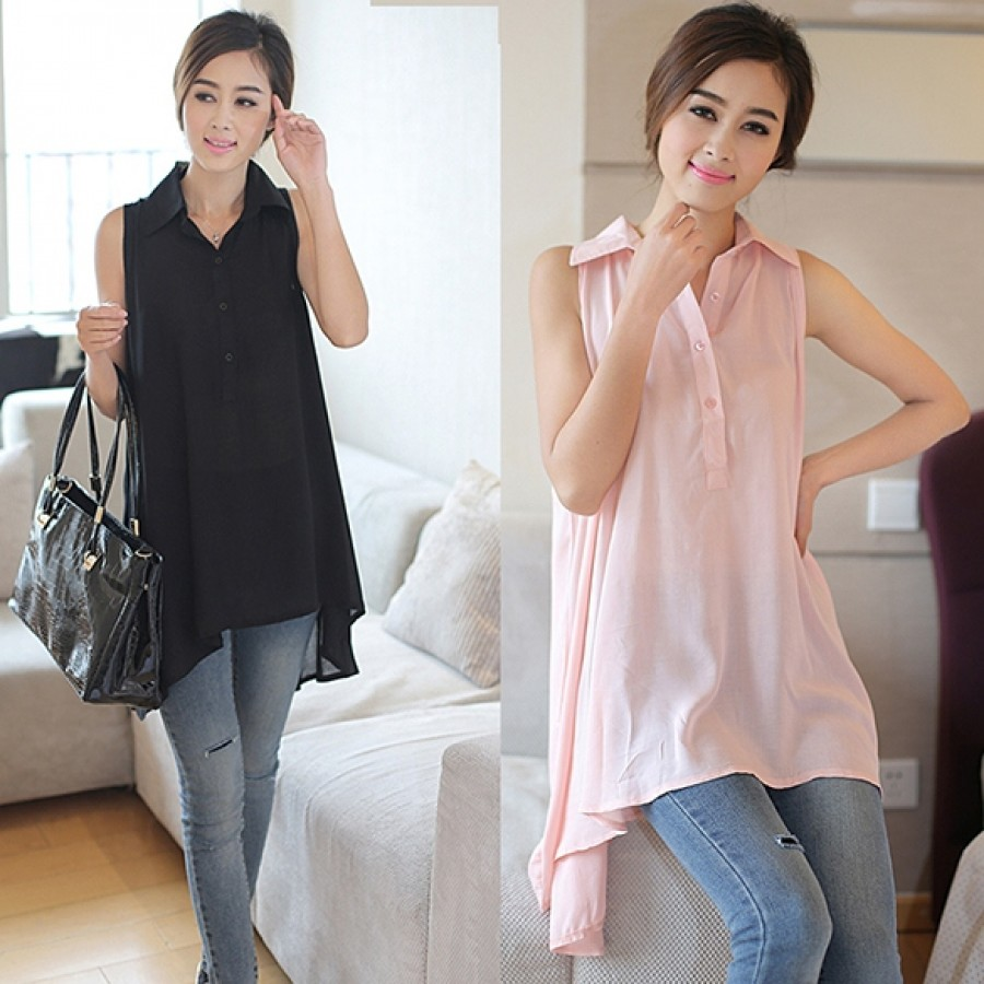Buy Santana Women Fashion Sleeveless Lapel Collar Loose Long Casual Blouse Shirt Online