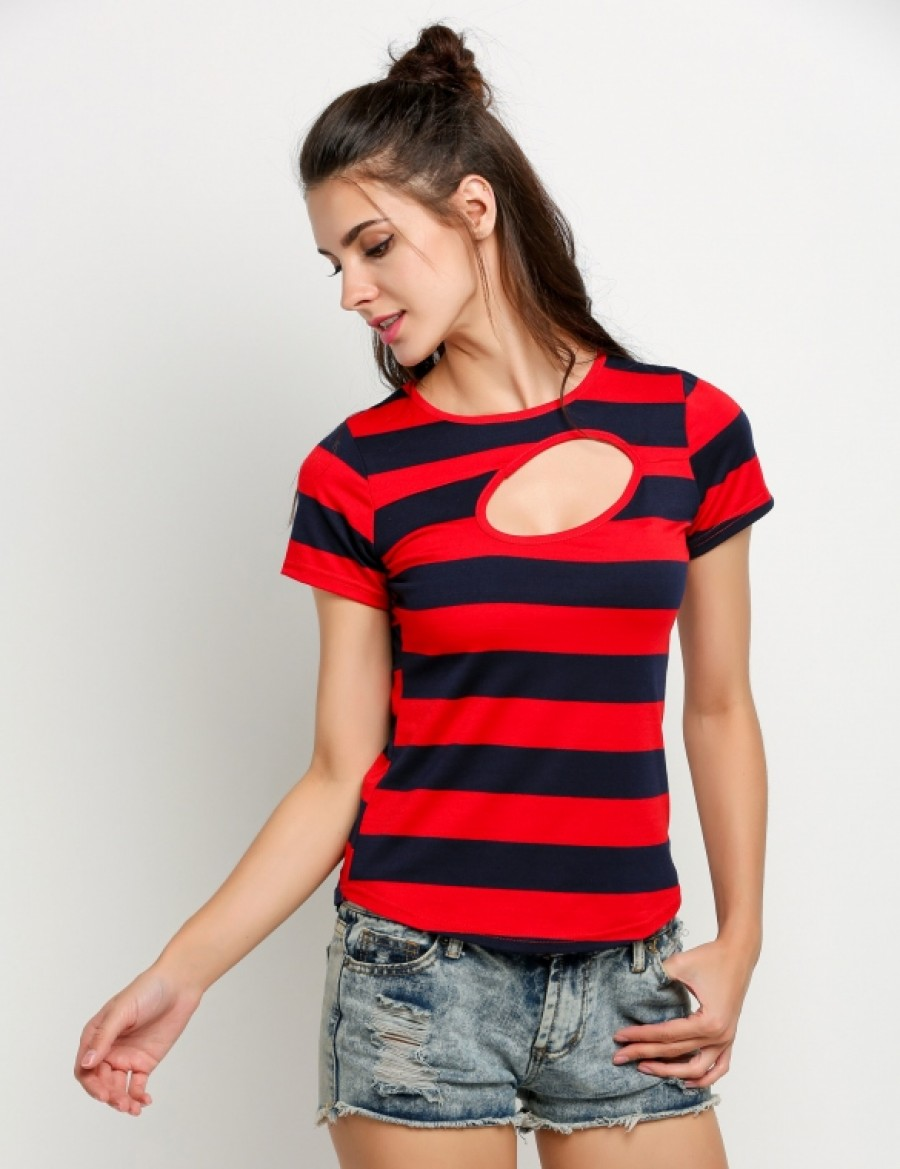 Buy Santana Women Short Sleeve Hollow Stripe T Shirt Online