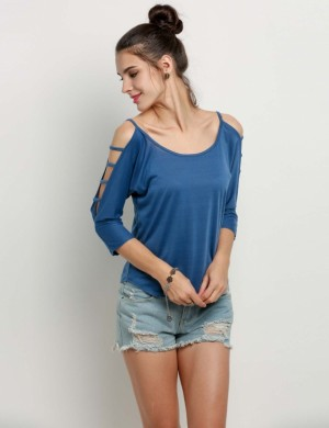 Buy Santana Women Off Shoulder Hollow Out 3 4th Sleeve Solid Blouse Tops Online