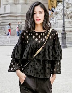 Buy Santana Women Ladies Lace Hollow Out Ruffles Decor Loose Casual Tops Blouse Online