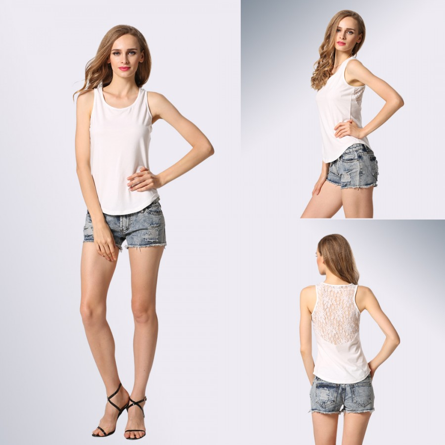 Buy Santana Women Casual O neck Sleeveless Lace Splicing Mini T shirt Tank Top Online