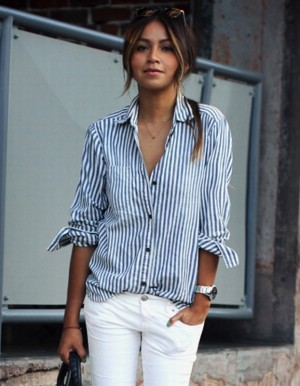 Buy Santana Women Turn down Collar Vertical Striped Casual Shirt Blouse Online