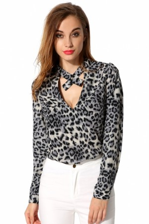 Buy Santana Women Casual Stand Collar Key hole Long Sleeve Loose Shirt Online