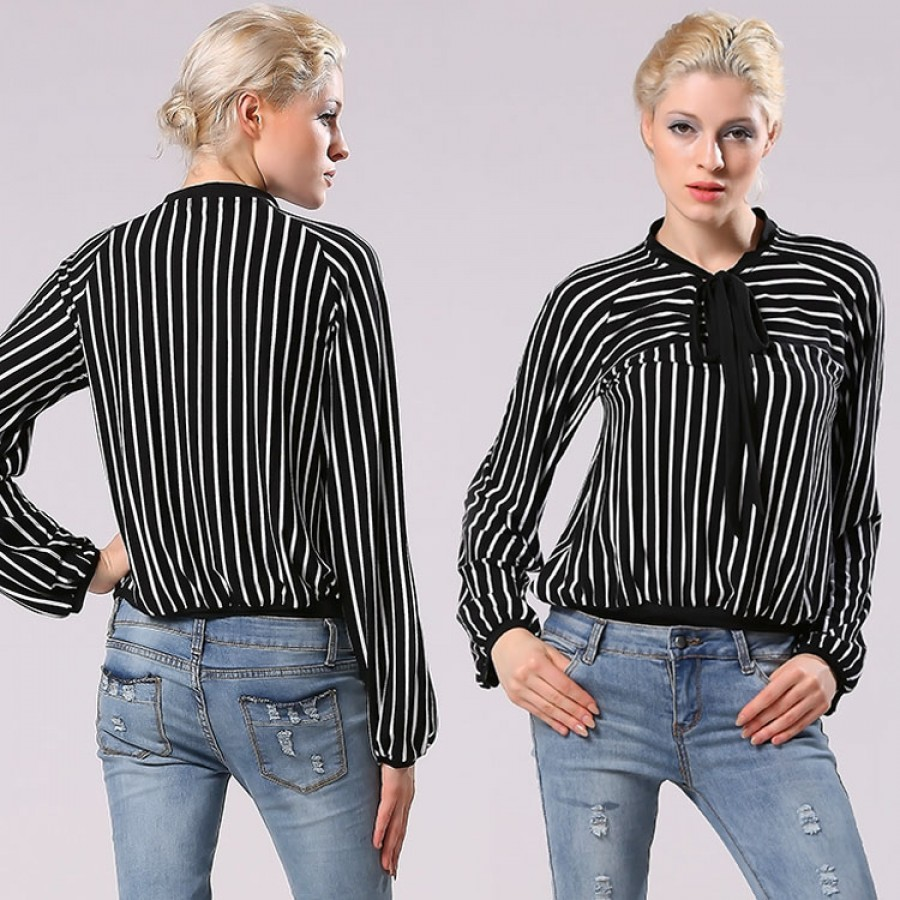 Buy Santana Women Office Lady Casual Shirt Stripe Long Sleeve Stand Collar Bow Tie Wear To Work Shirt Blouse Online