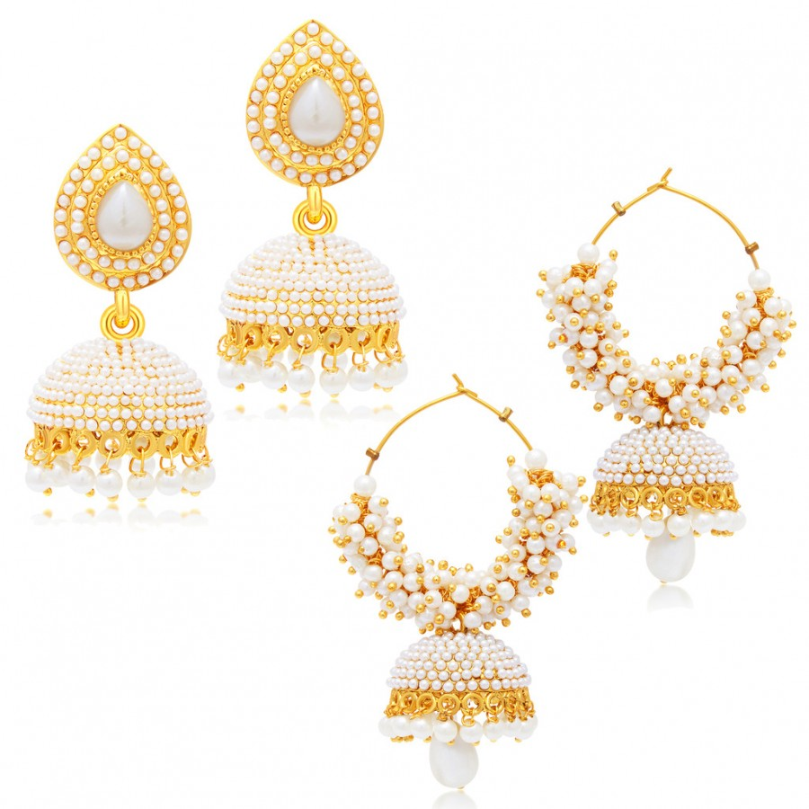 8ef7ee6f7a Buy Sukkhi Astonishing Jhumki Gold Plated Set of 2 Pair Earring Combo For Women  Online