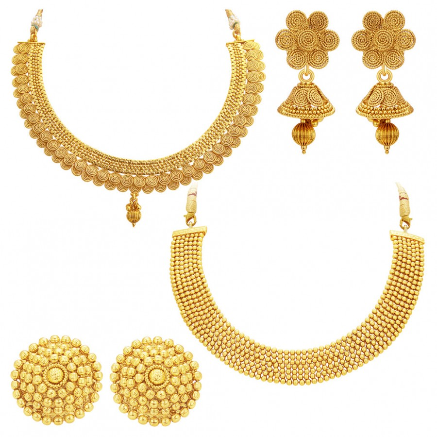 Sukkhi Traditional Gold Plated Necklace Set: Sukkhi Exquisite Gold Plated Set Of 2 Necklace