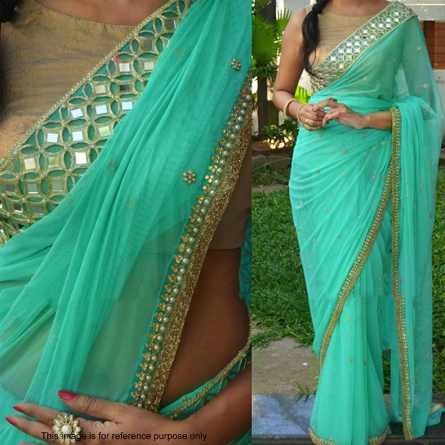 62aadfa3053cb7 Buy Designer Green Bollywood Replica Saree with Mirror work and Golden  Blouse Piece Online