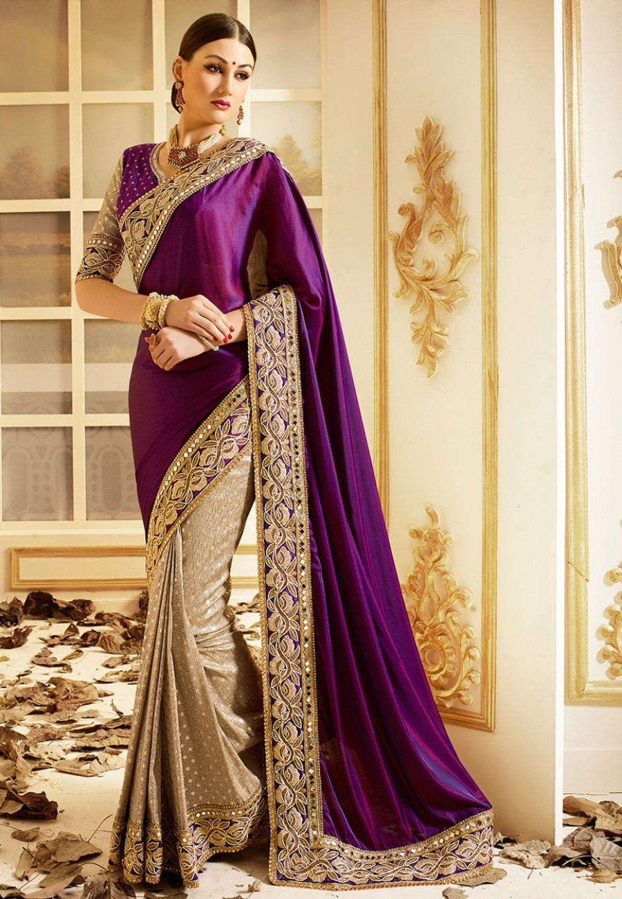 Buy Purple Jacquard Designer Saree With Blouse Online