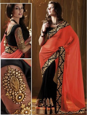 Buy Orange Nakashi Designer Half Georgette & Half Net Saree Online