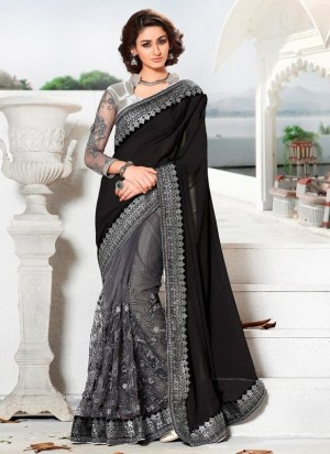 Buy Black & grey chinon-net half-half saree with blouse Online