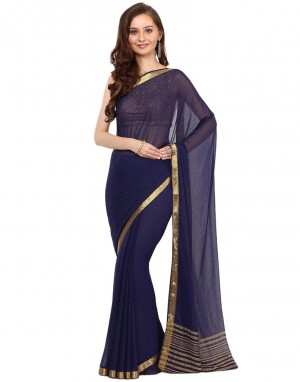 Buy Embellished Chiffon Woven Saree With Swarovski Work By Meena Bazaar Online