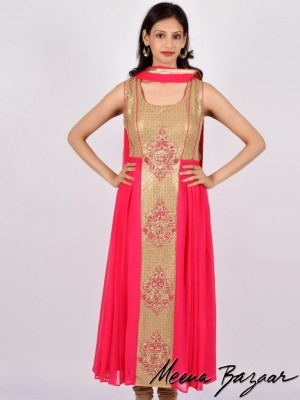 Buy Georgette Anarkali Suit With Sequence Work Online