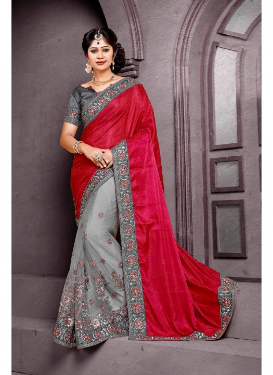 5dd047df04 Shop for Rozdeal New Deisgner Maroon And Grey Color Paper Silk Saree ...